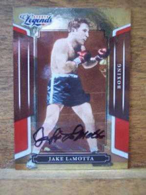 Jake LaMotta certified autograph 2008 Donruss Americana boxing card