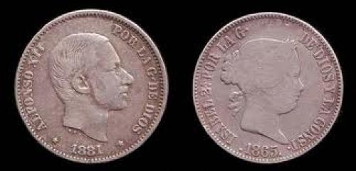 Philippine coins of Queen Isabella II and King Alfonso XII.
