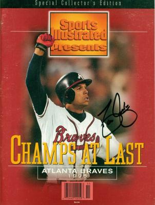 David Justice autographed Atlanta Braves 1995 World Series Sports Illustrated Special Edition