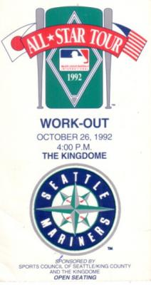 1992 MLB Japan All-Star Tour Workout Day ticket stub