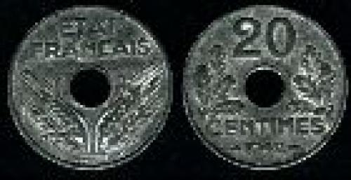 20 centimes; Year; 1941-1944; (km 900.1)