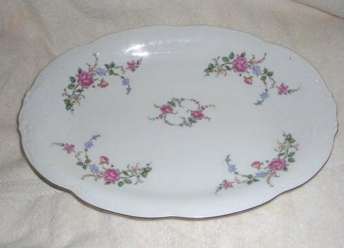 Wawel China Rose Garden Gold Tone Rimmed Serving Platter
