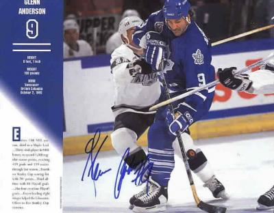 Glenn Anderson autographed Toronto Maple Leafs calendar page