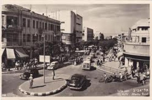 Postcard; Tel Aviv Allenby Road Israel 1950