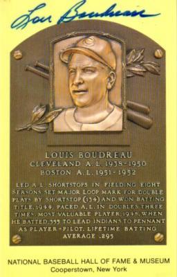 Lou Boudreau autographed Hall of Fame plaque postcard
