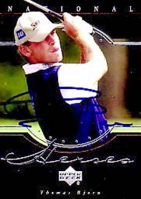 Thomas Bjorn autographed 2001 Upper Deck National Heroes golf card