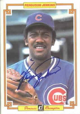 Fergie Jenkins autographed Chicago Cubs 1984 Donruss jumbo card