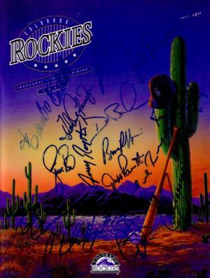 1993 Colorado Rockies autographed program (Dante Bichette Andres Galarraga Charlie Hayes)