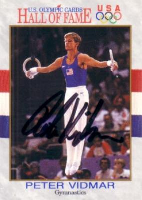 Peter Vidmar (gymnastics) autographed U.S. Olympic Hall of Fame card