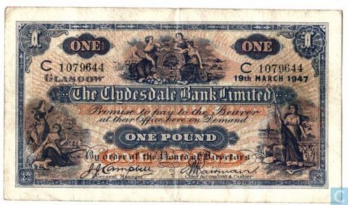 Scotland 1 pound 1947 (Clysedale Bank)