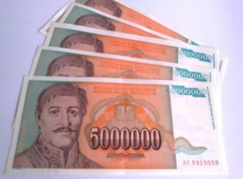 5,000,000 Dinars - Yugoslavia-1993-5 pcs