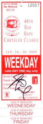 Justin Leonard autographed 2005 Bob Hope Chrysler Classic ticket