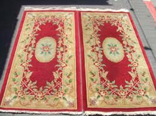 Antiques; PAIR Beautiful hand-woven Chinese Antiques Carpets