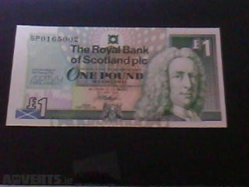 1 Pound Scottish Banknote Uncirculated UNC-1999