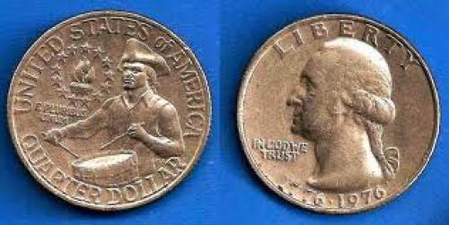 Coins; United States 25 Cents 1976 Quarter Dollar coin