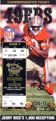 Jerry Rice autographed San Francisco 49ers 1000 Reception Commemorative Ticket