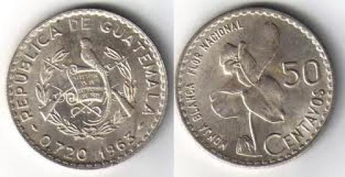 Coins; Guatemala 50 Centavos 1963. ASW .2777 KM 264