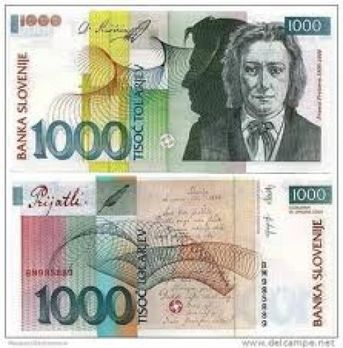 Banknotes; Slovenia 1000 Tolar banknotes