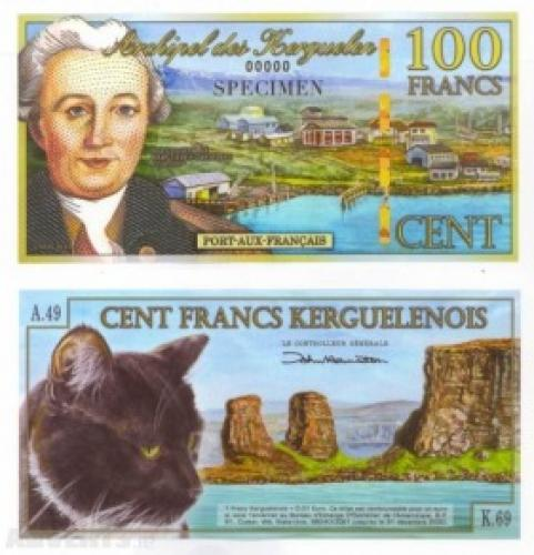 "2010 100 Francs Kerguelen Islands ""Specimen"" Port-Aux- Francais: Cat Mint Condition"