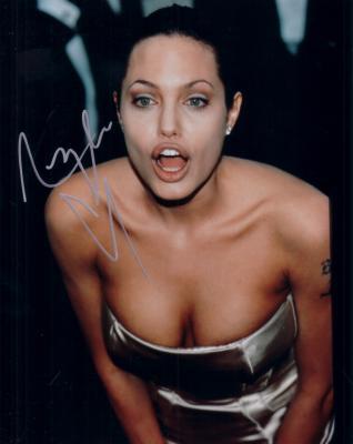 Angelina Jolie autographed 8x10 cleavage photo