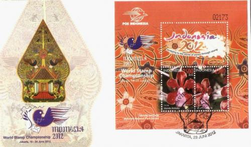 Orchids on stamps in block on FDC