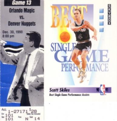 Scott Skiles NBA single-game assist record 1990 Orlando Magic ticket stub