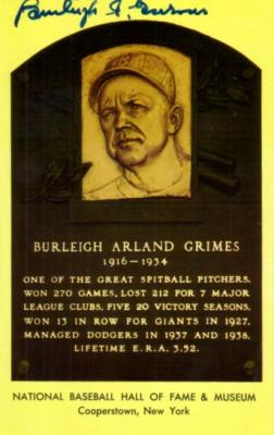 Burleigh Grimes (Brooklyn Dodgers) autographed Baseball Hall of Fame plaque postcard