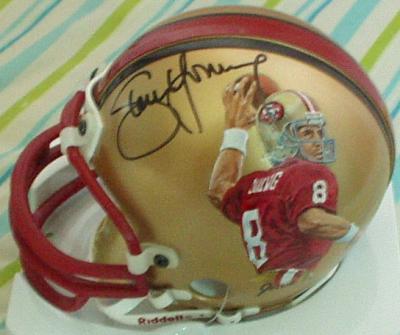 Steve Young autographed San Francisco 49ers mini helmet painted by Jolene Jessie