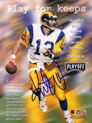 Kurt Warner autographed St. Louis Rams full page magazine photo
