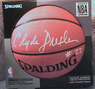 Clyde Drexler autographed NBA indoor/outdoor basketball