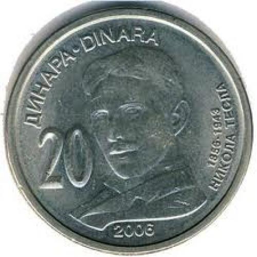 Coins; 20‑Dinara‑Nikola‑Tesla; Year: 2006
