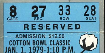 1979 Cotton Bowl ticket stub (Joe Montana Notre Dame Chicken Soup Game)