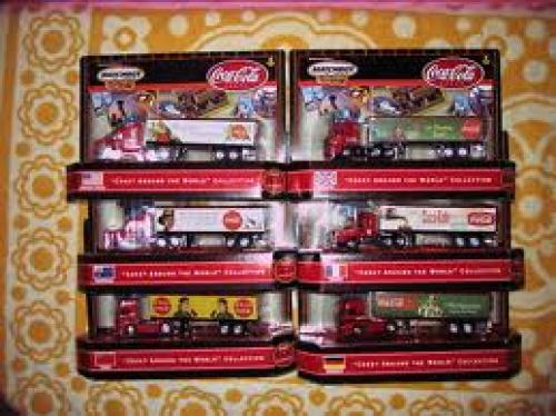 "Trucks; AUTHENTIC UNIQUE SET OF 6 RIGS MATCHBOX 2000 ""COKE AROUND"