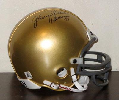Johnny Lattner autographed Notre Dame mini helmet inscribed Heisman '53