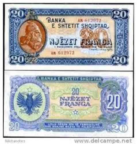 Banknotes;Njezet Pranga 20; Banknotes > Albania