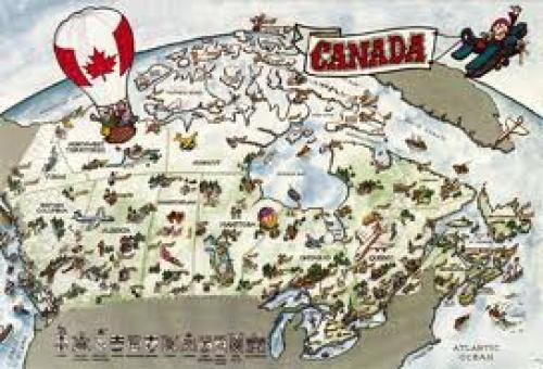 Map of Canada Leaf Postcard