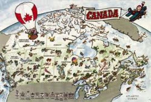 Map of Canada Leaf Postcard