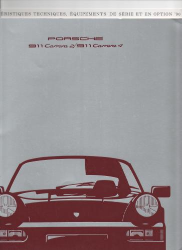 brochure PORSCHE 911 CARRERA 1990