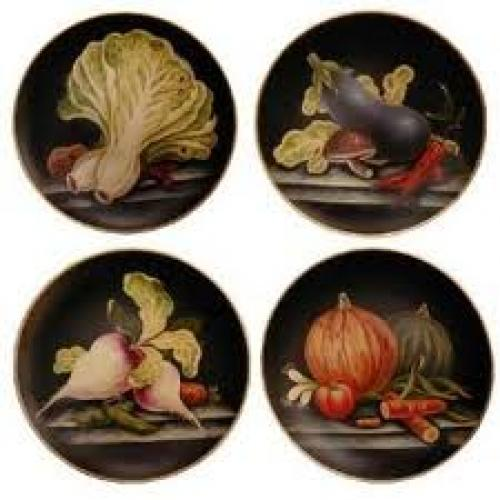 Handpainted porcelain decorative plates - set of 4