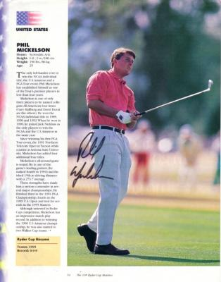 Phil Mickelson autographed 1995 Ryder Cup program full page photo