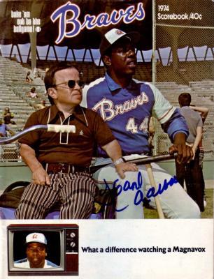 Hank Aaron autographed Atlanta Braves Home Run 715 game program