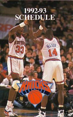 Patrick Ewing New York Knicks 1992-93 pocket schedule