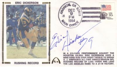 Eric Dickerson autographed Rams 1984 Rushing Record cachet envelope