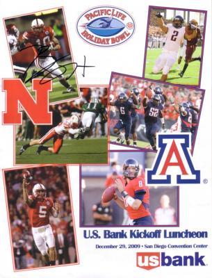 Roy Helu Jr. (Nebraska) autographed 2009 Holiday Bowl lunch program