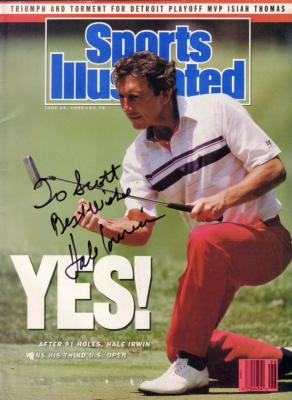 Hale Irwin autographed 1990 U.S. Open Sports Illustrated (to Scott)