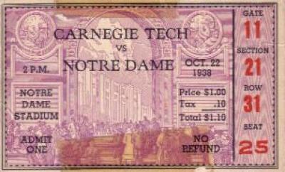1938 Notre Dame vs Carnegie Tech ticket stub (Elmer Layden)