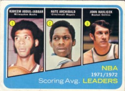 Kareem Abdul-Jabbar Nate Archibald John Havlicek 1972-73 Topps Scoring Leaders basketball card
