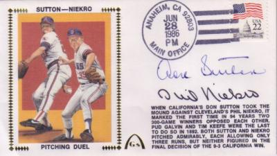 Phil Niekro & Don Sutton autographed 300-Game Winners cachet