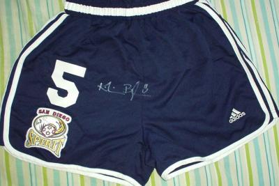 Kristin Bengtsson autographed 2001 WUSA San Diego Spirit game worn shorts