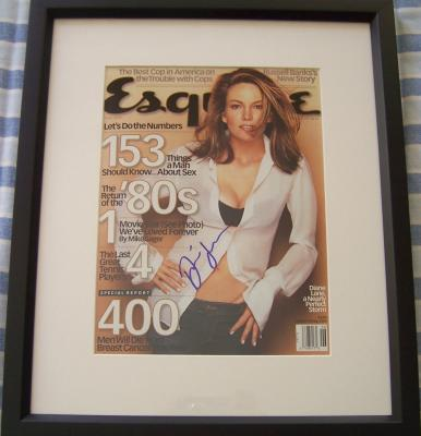 Diane Lane autographed 2000 Esquire magazine cover matted & framed
